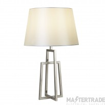 Searchlight York Table Lamp - Crossed Frame, Satin Silver, White Tapered Shade