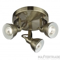 Searchlight 1543AB Focus Antique Brass 3 Light Spotlight