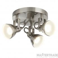 Searchlight 1543SS Focus Three Light Ceiling Plate Spotlight In Satin Silver