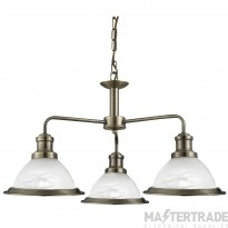 Searchlight 1593-3AB Bistro 3 Way Ceiling Pendant Light Antique Brass