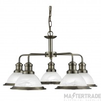 Searchlight 1595-5AB Bistro 5 way Ceiling Pendant Light Antique Brass