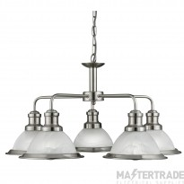 Searchlight 1595-5SS Bistro 5 Light Ceiling Pendant Light Silver