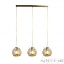 Searchlight 1623-3AM Pendant 3 Light Linear Ceiling Light In Antique Brass With Amber Glasses