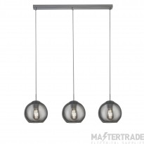 Searchlight 1623-3SM Pendant 3 Light Linear Ceiling Light In Chrome With Smoked Glasses