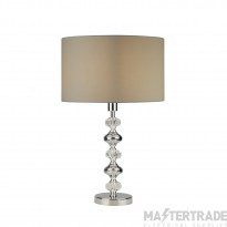 Searchlight Larissa 1Lt Table Lamp, Chrome And Acrylic With Grey Shade