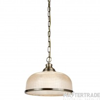 Searchlight 1682AB Bistro II One Light Ceiling Pendant Light In Antique Brass With Glass Shades