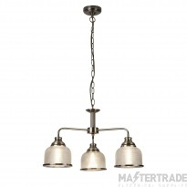 Searchlight 1683-3AB Bistro II Three Light MultiArm Ceiling Light, Antique Brass With Glass Shades