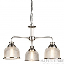 Searchlight 1683-3SS Bistro II Three Light MultiArm Ceiling Light In Satin Silver With Glass Shades