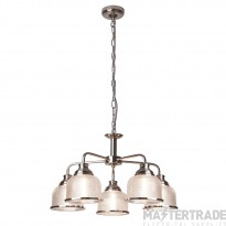 Searchlight 1685-5SS Bistro II Five Light MultiArm Ceiling Light In Satin Silver With Glass Shades
