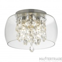 Searchlight 1773CC Bathroom Flush Ceiling Light In Chrome With Crystal And Clear Glass