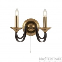 Searchlight 1842-2BZ Belfry 2 Light Wall Light In Bronze And Brown
