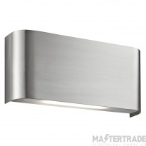 Searchlight 1953SS 20 LED Oblong Curved Wall Light In Satin Silver With Up And Down Light