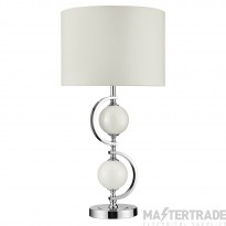 Searchlight Table Lamp - Chrome, White Glass Balls & Drum Shade