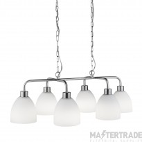 Searchlight 1986-6SS Cromwell 6 Light Linear Pendant In Satin Silver