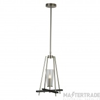 Searchlight 2131-1SS Danika 1 Light Ceiling Pendant Light In Satin Silver And Black