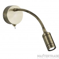 Searchlight 2256AB One Light LED Wall Light With Bendy Arm In Antique Brass - Height: 240mm