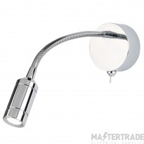 Searchlight 2256CC One Light LED Wall Light With Bendy Arm In Chrome - Height: 240mm