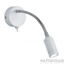 Searchlight 2256WH One Light LED Wall Light With Bendy Arm In White- Height: 240mm