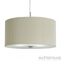 Searchlight 2356-60CR Drum Pleat 3 Light Ceiling Pendant In Chrome With Cream Shade - Dia: 600mm
