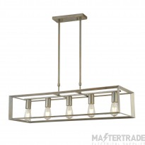Searchlight 2415-5SI Heaton 5 Light Linear Pendant Light In Brushed Silver Gold