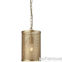 Searchlight 2481GO Fishnet 1 Light Ceiling Pendant Light In Matt Gold