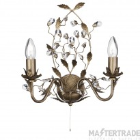 Searchlight 2492-2BR Almandite 2 Light Wall Light Crystal Droplets