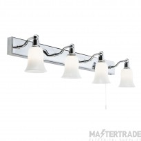 Searchlight 2934-4CC-LED 4 Light Wall Bar Light With White Glass Shades In Chrome