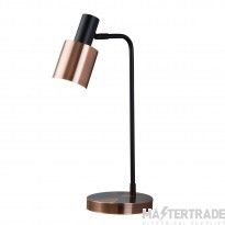 Searchlight Denmark 1Lt Table Lamp, Black, Antique Copper