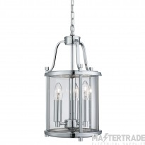 Searchlight 3063-3CC 3 Light Victorian Lantern Ceiling Pendant Light In Chrome