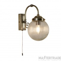 Searchlight 3259AB Belvue One Light Wall Light In Antique Brass With Round Ribbed Glass Shade