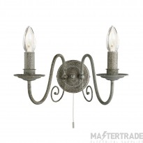 Searchlight 3362-2GY Greythorne Two Light Wall Light In Textured Grey Steel