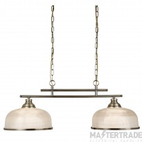 Searchlight 3592-2AB Bistro II Two Light Bar Ceiling Light In Antique Brass With Glass Shades