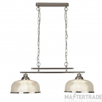 Searchlight 3592-2SS Bistro II Two Light Ceiling Bar Light In Satin Silver With Glass Shades