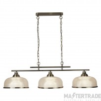 Searchlight 3593-3AB Bistro II Three Light Bar Ceiling Light In Antique Brass With Glass Shades