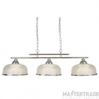 Searchlight 3593-3SS Bistro II Three Light Ceiling Bar Light In Satin Silver With Glass Shades