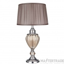 Searchlight Greyson Table Lamp Amber Glass Urn/With Brown Pleated Tapered Shade