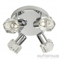 Searchlight 3764CC-LED Triton Four Light Ceiling Round Plate Spotlight In Chrome And Glass