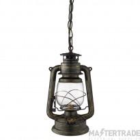 Searchlight Lantern - 1Lt Miners Lantern Pendant, Black Gold With Hurricane Glass Shade
