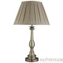 Searchlight Flemish Table Lamp, Spindle Base, Antique Brass, Mink Pleated Shade