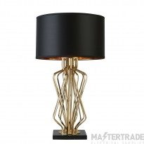 Searchlight Ethan Table Lamp With Marble Base, Gold With Black Drum Shade, Gold Interior