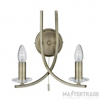 Searchlight 4162-2AB Ascona 2 Light Wall Light in Antique Brass