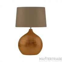 Searchlight Artisan 1Lt Bronze Table Lamp With Round Base, Brown Shade