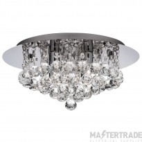 Searchlight 4404-4CC-LED Hanna Four Light Flush Ceiling Light In Chrome With Glass Ball Decoration