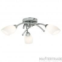 Searchlight 4483-3CC-LED 3 Light Semi Flush LED Ceiling Light With White Glass Shades In Chrome