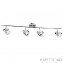 Searchlight 4764CC-LED Triton Four Light Ceiling Bar Spotlight In Chrome And Glass