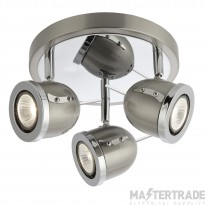 Searchlight 4923SS Palmer Chrome, Satin Silver 3 Light Plate Spotlight