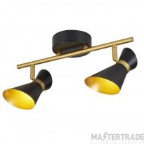 Searchlight 5922BG Diablo Two Light Bar Ceiling Spotlight In Black And Gold