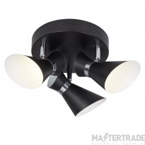 Searchlight 5923BW Diablo Three Light Ceiling Spotlight In Black And White