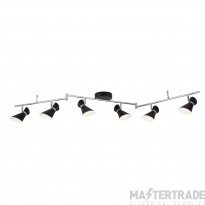 Searchlight 5926BW Diablo Six Light Ceiling Bar Spotlight In Black And White