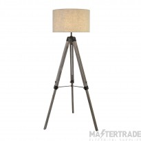 Searchlight Easel Floor Lamp, Washed  Brown Base, Linen Drum Shade
